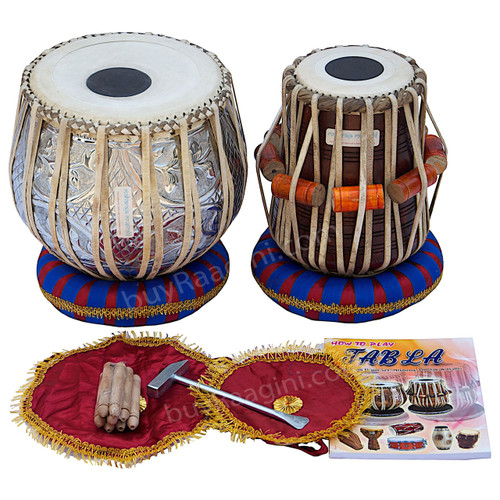 MAHARAJA Floral Chrome Tabla, 3 Kg Copper Bayan, Sheesham Dayan BEA
