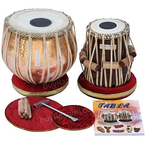 MAHARAJA Lacquer Finish Tabla Set, 5Kg Copper Bayan Sheesham Dayan BJJ
