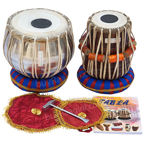 MAHARAJA Student Tabla Set, Steel Bayan, Finest Dayan, Accessories IB