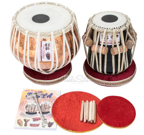 VHATKAR Tabla Drum Set, 4KG Designer Lacquer Copper Bayan, Shisham Dayan