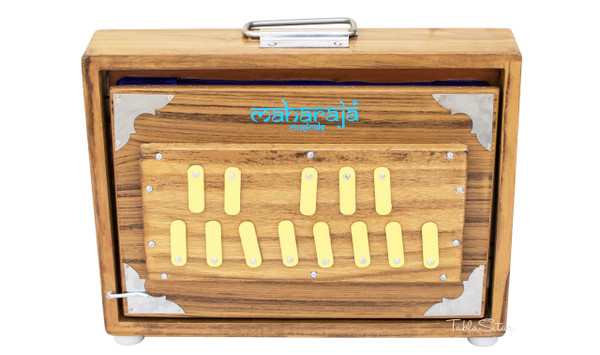MAHARAJA Shruti Box, Teak Wood - 13 Notes, Sur Peti ABC