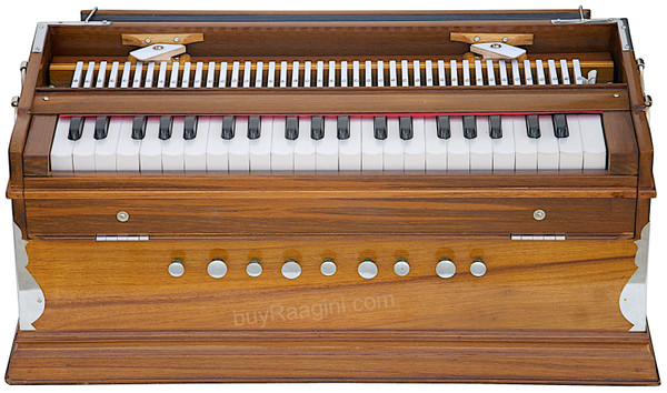 MONOJ K SARDAR MKS Teak Wood Harmonium, A440, 2 Reeds, 42 Keys DAB
