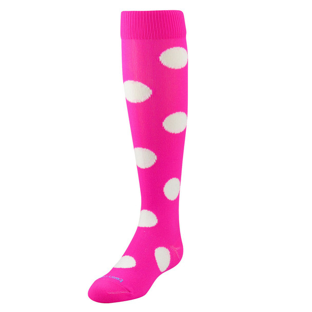 Hot Pink With White Polka Dots Over The Calf Sport Socks