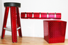 Diamond Plate Trash Can, Red with matching 5 Hook Rack, and Stool. By all for a custom look
