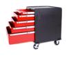 Five Drawer Modular Base Cabinet, Red