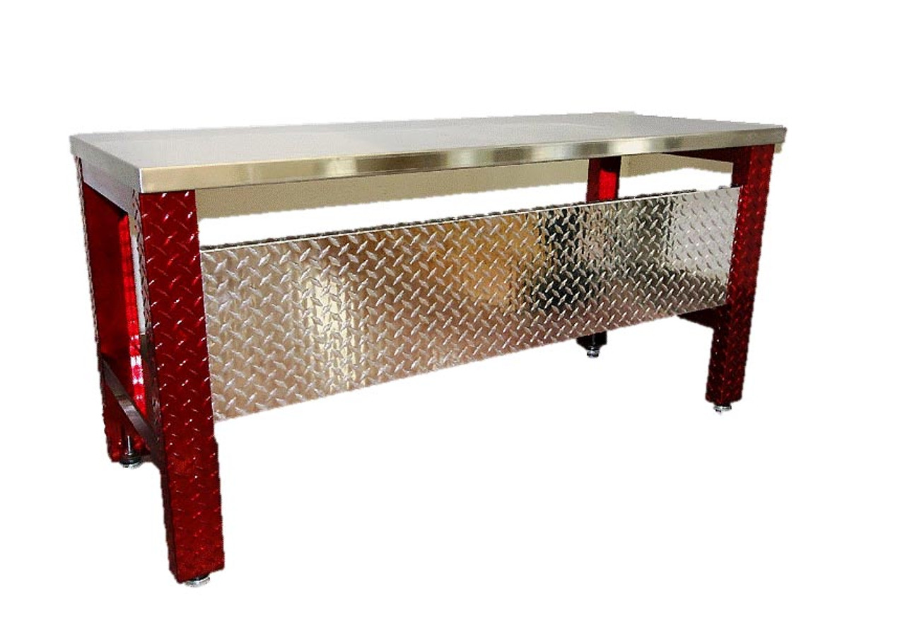 Diamond Plate Desk , Red Legs Stainless Steel Top