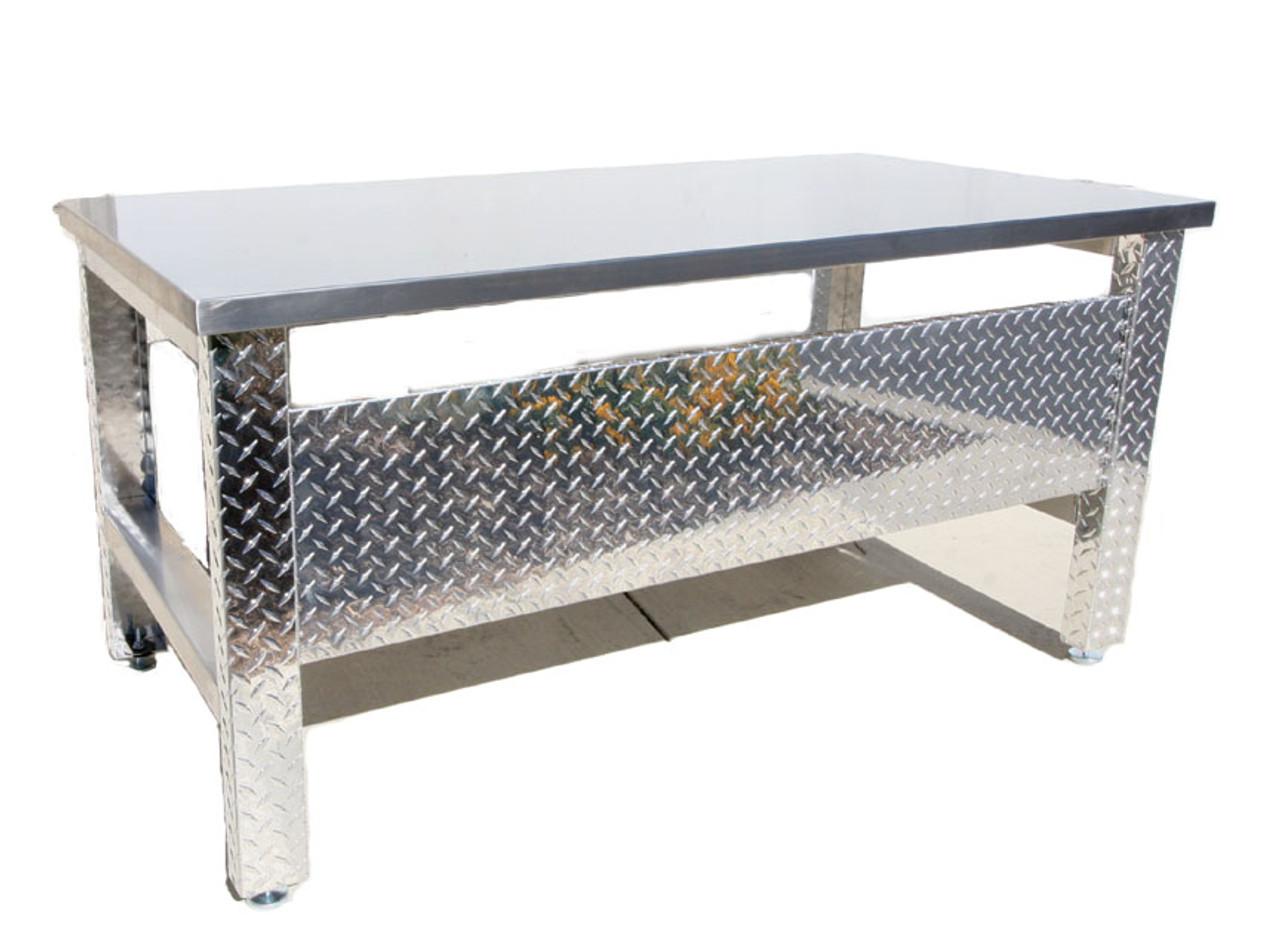 Diamond Plate Desk , Aluminum Legs, Stainless Steel Top