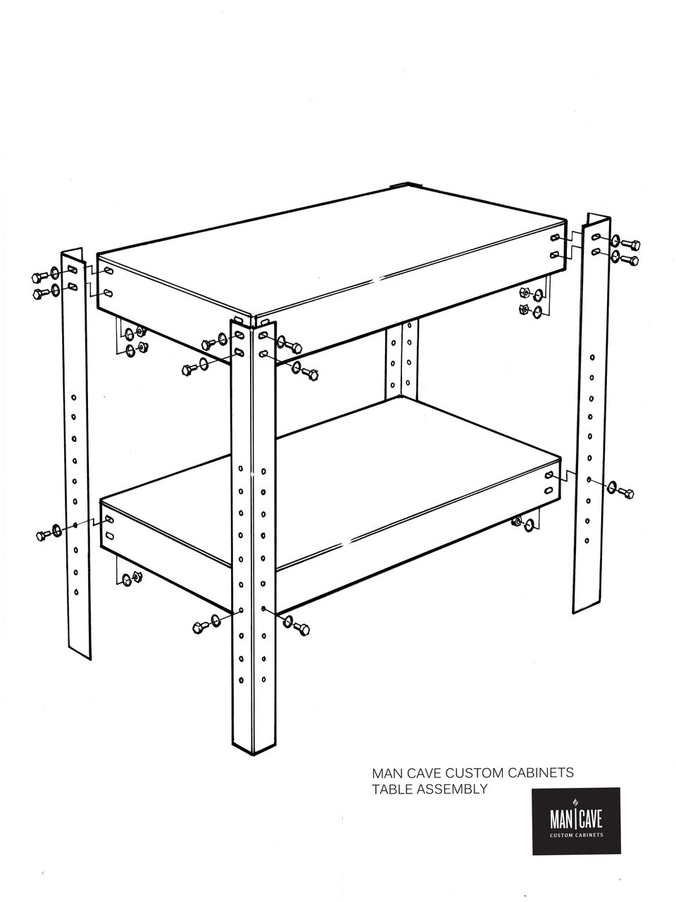 Man Cave Table Assembly Drawing