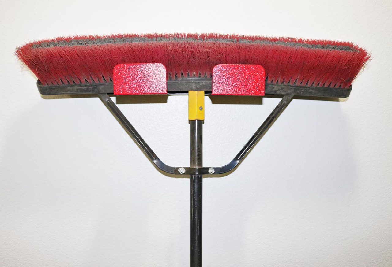 Broom Holder Red & Black with Broom