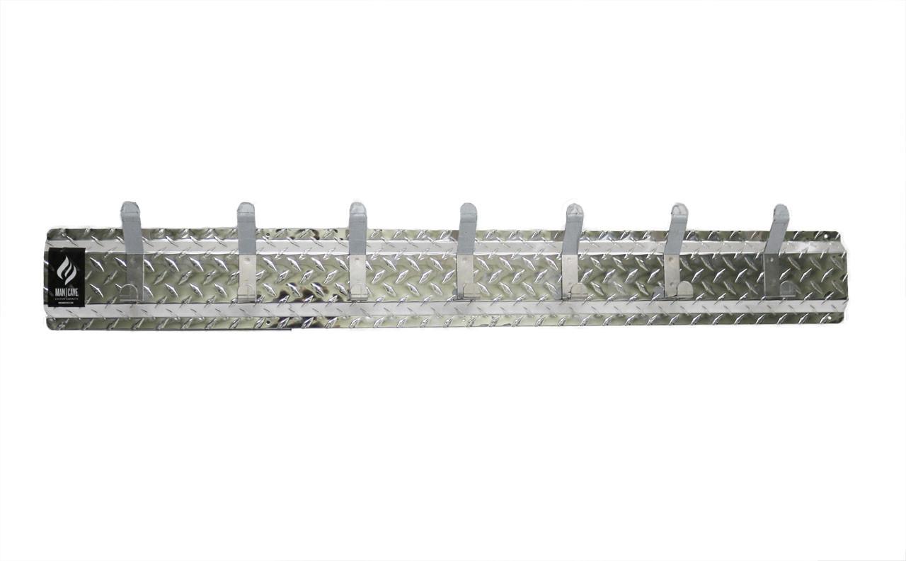 Diamond Plate Wall Hanger, 7 Hook Silver/Silver