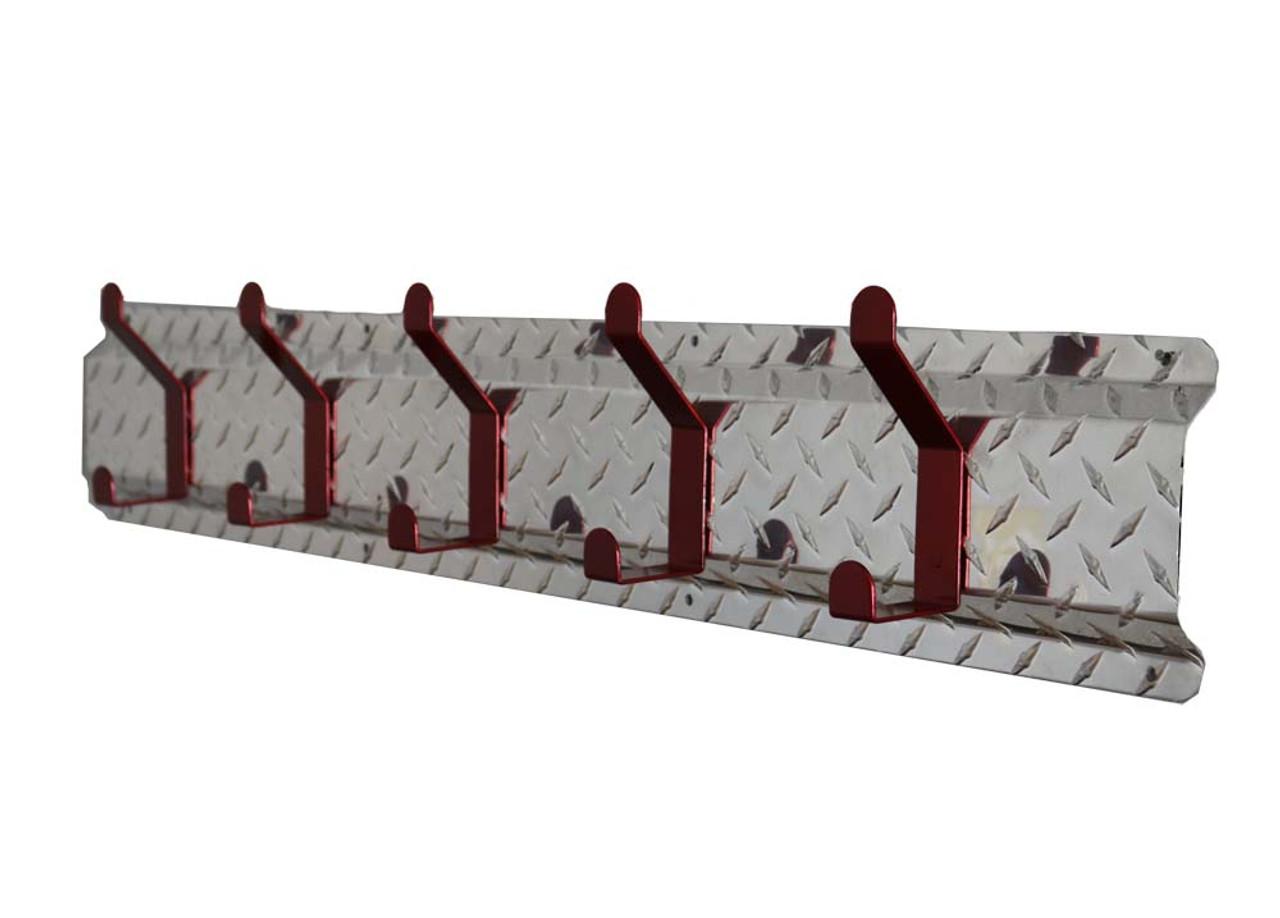 Diamond Plate Coat Hanger, Aluminum 5 Hook, Red Hooks