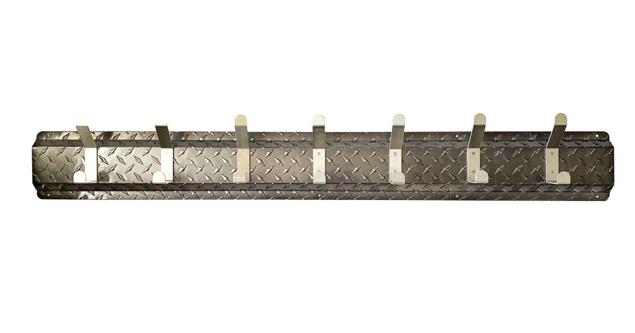 7 Hook Diamond Plate Hanger, Black, Silver Hooks