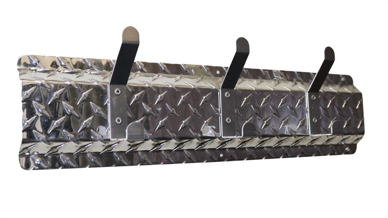 Diamond Plate Coat Hanger, 3 Hook, Aluminum/Aluminum Hooks