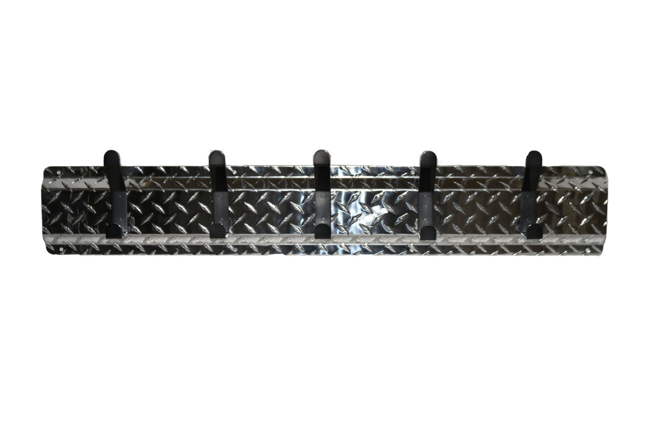 Diamond Plate Aluminum Silver Background and Black Hooks