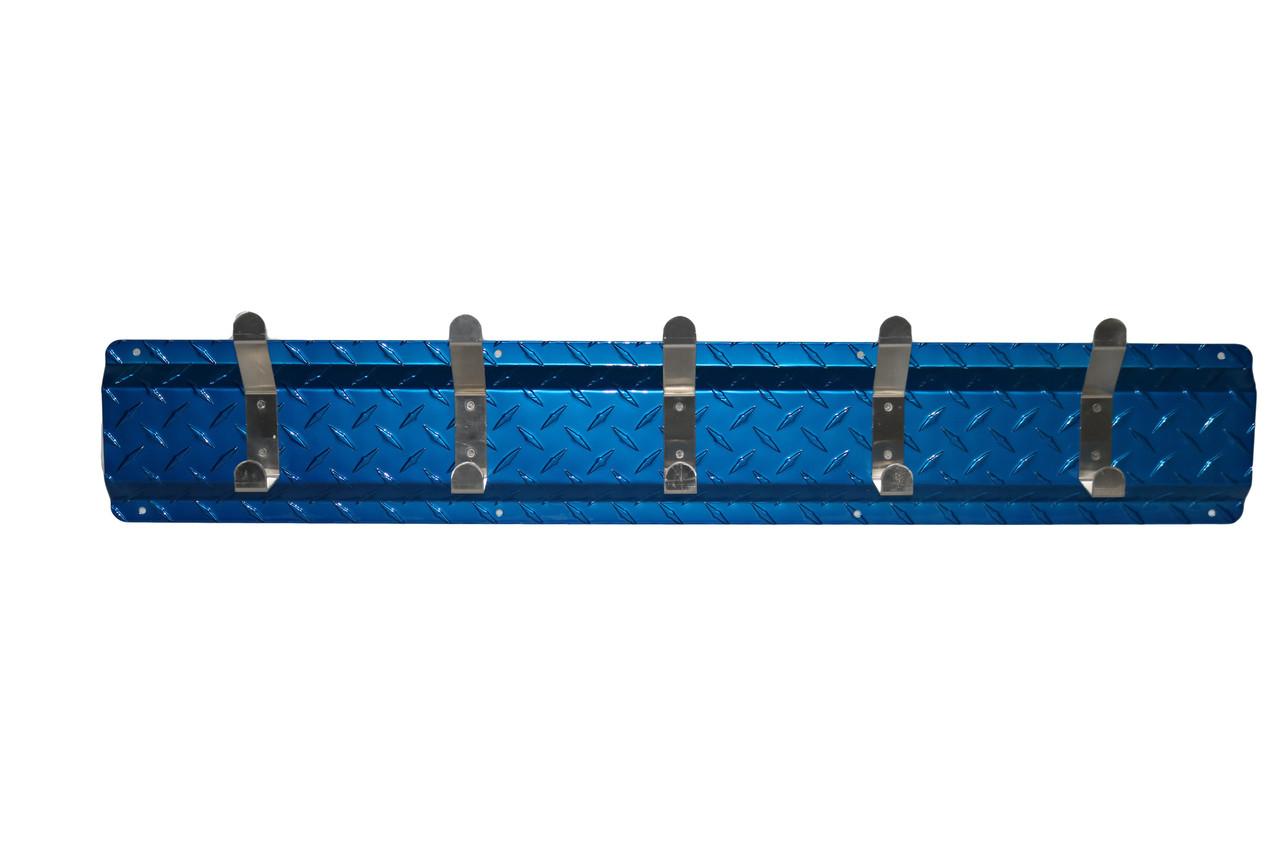 Diamond Plate Coat Hanger, 5 Hook, Blue/Aluminum Hooks