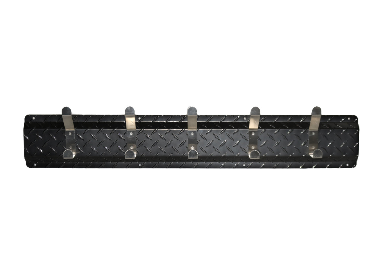 Diamond Plate Coat Hanger, 5 Hook, Black/Aluminum Hooks