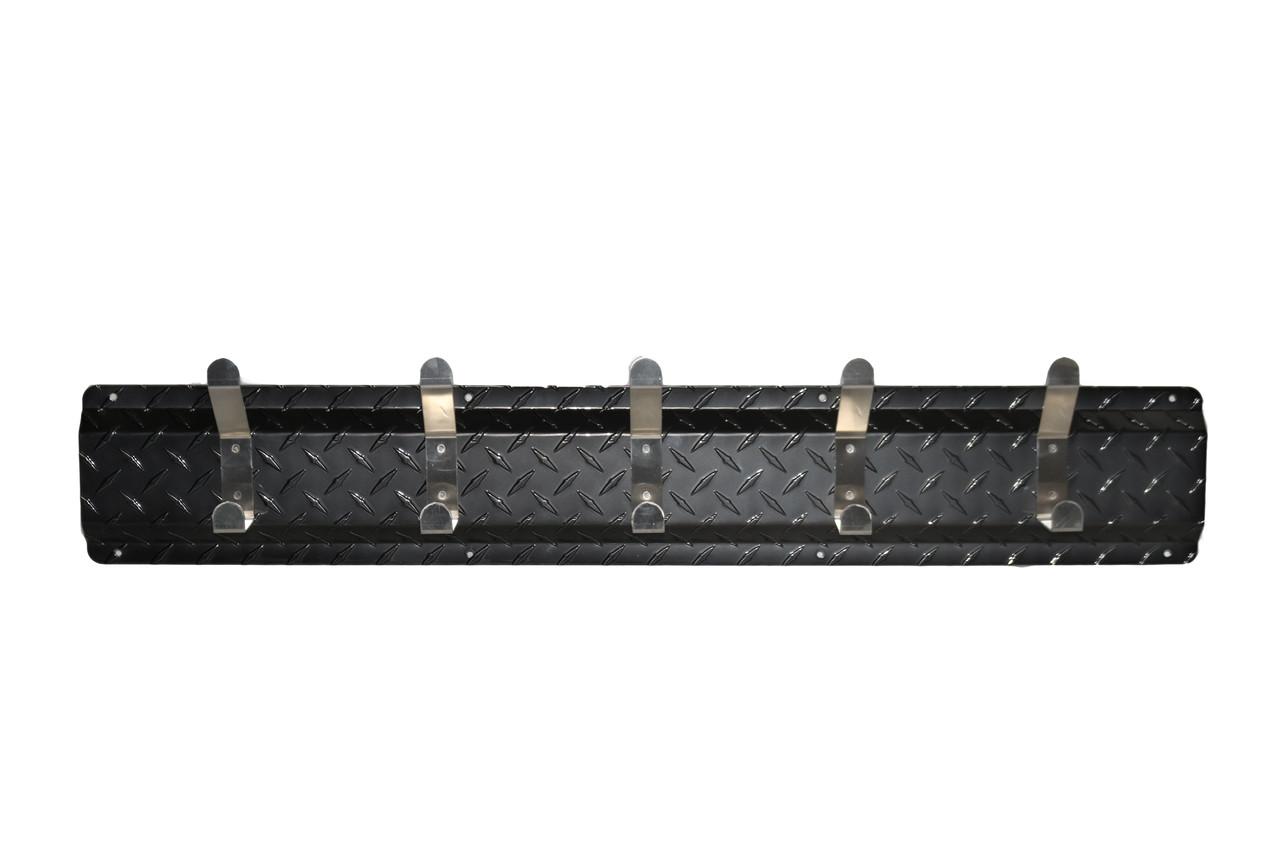 Diamond Plate Coat Hanger, 5 Hook, Black/Aluminum Hooks