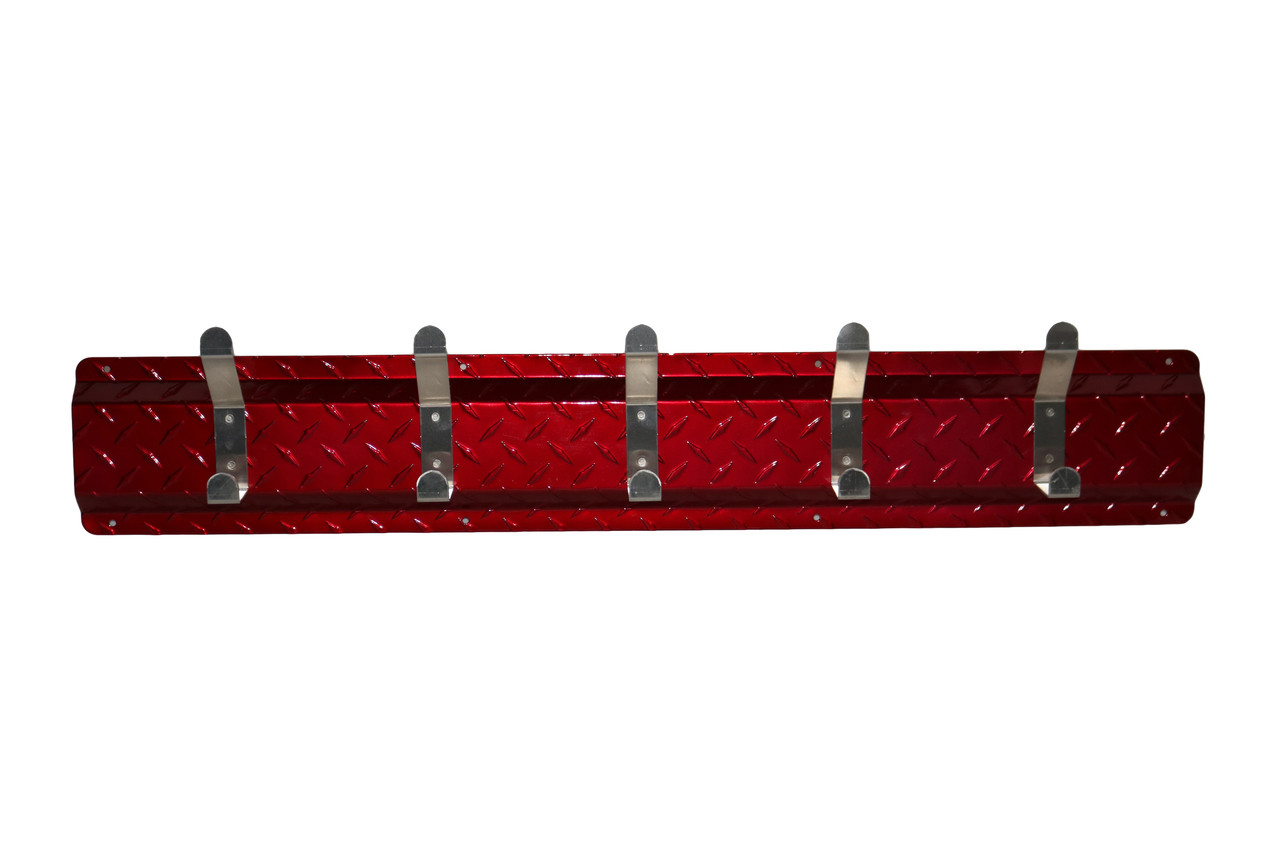 Diamond Plate Coat Hanger, 5 Hook, Red/Aluminum Hooks