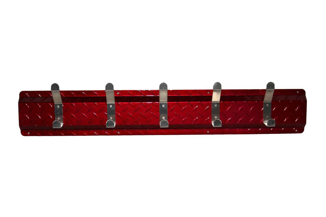 Diamond Plate Coat Hanger, 5 Hook, Red/Aluminum Hooks