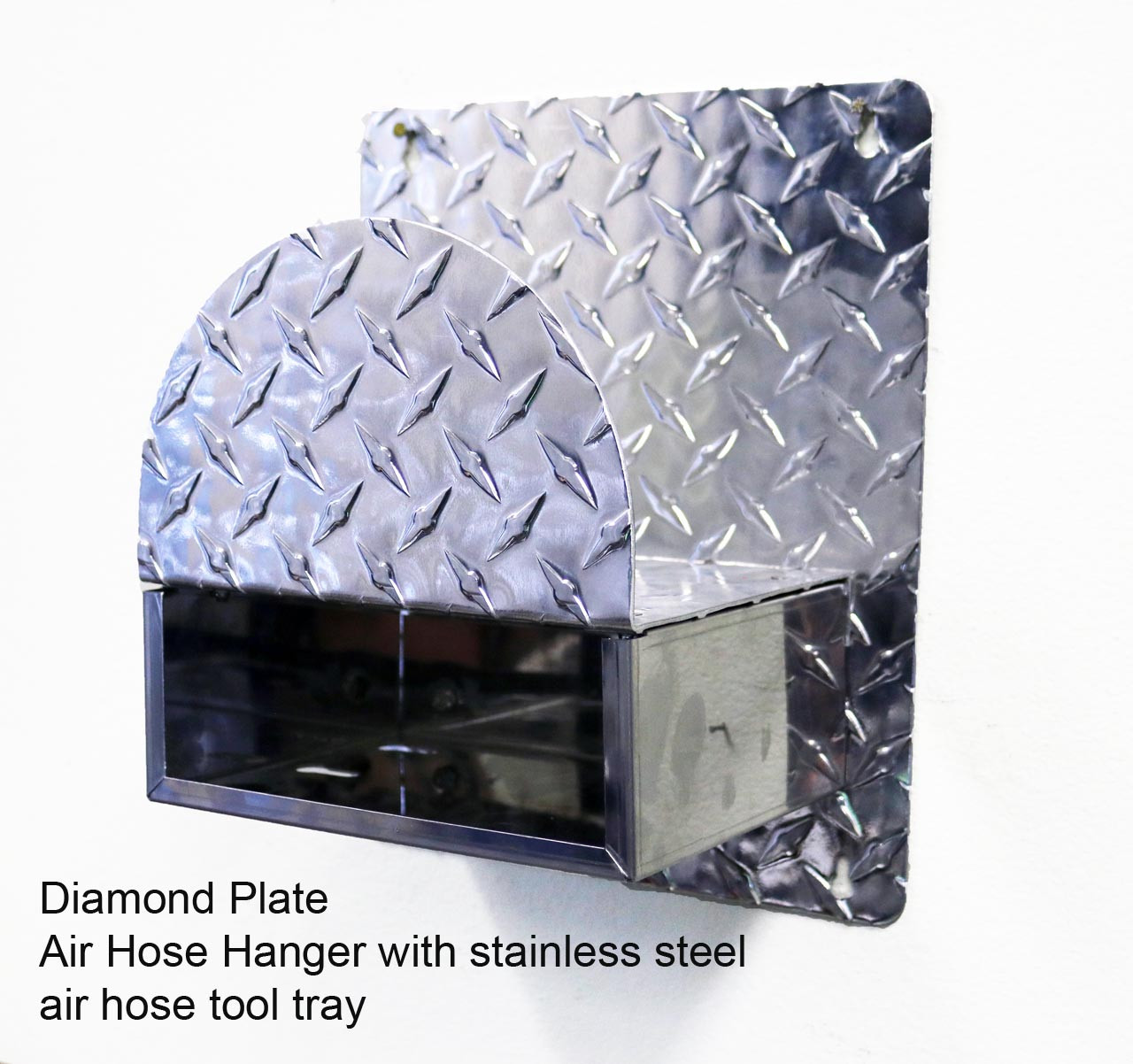 DIamond Plate Aluminum Air Hose with Stainless Steel Accessory Tray (Hose not Included)
