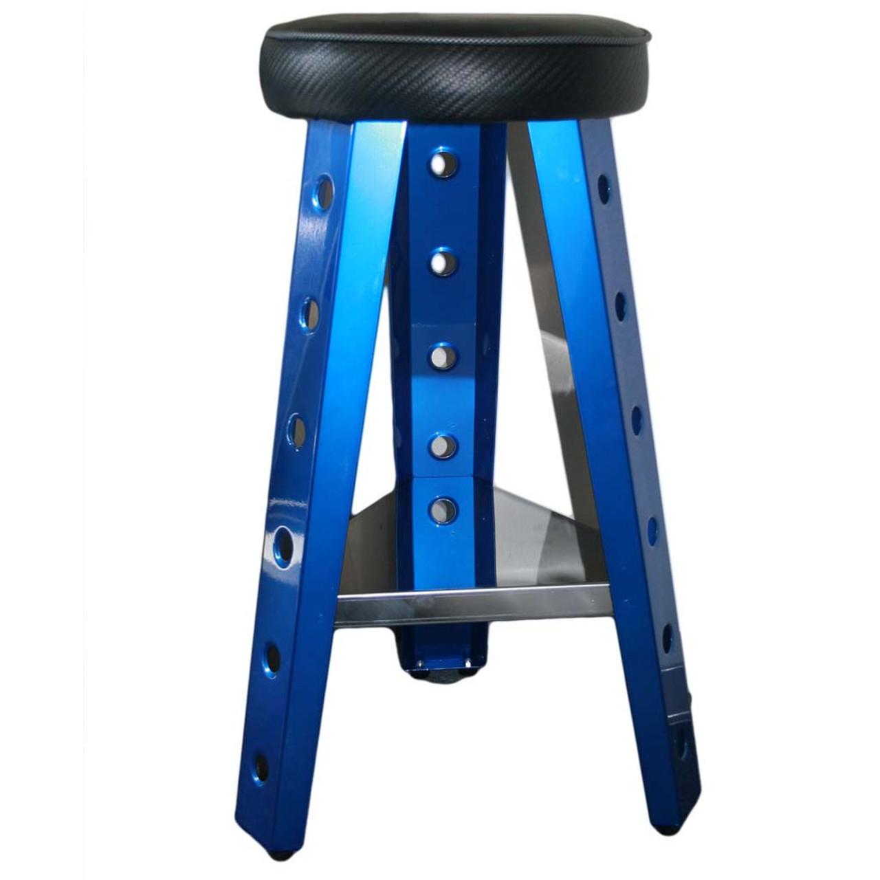 "Blue Smooth Aluminum 29"" Stool"