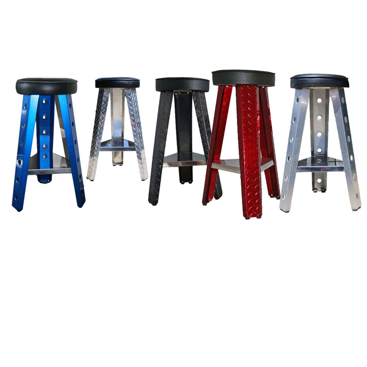 Man Cave Stool Group, Smooth Blue, Diamond Plate Silver, Diamond Plate Black Chrome, Diamond Plate Candy Red, Smooth Aluminum Stool