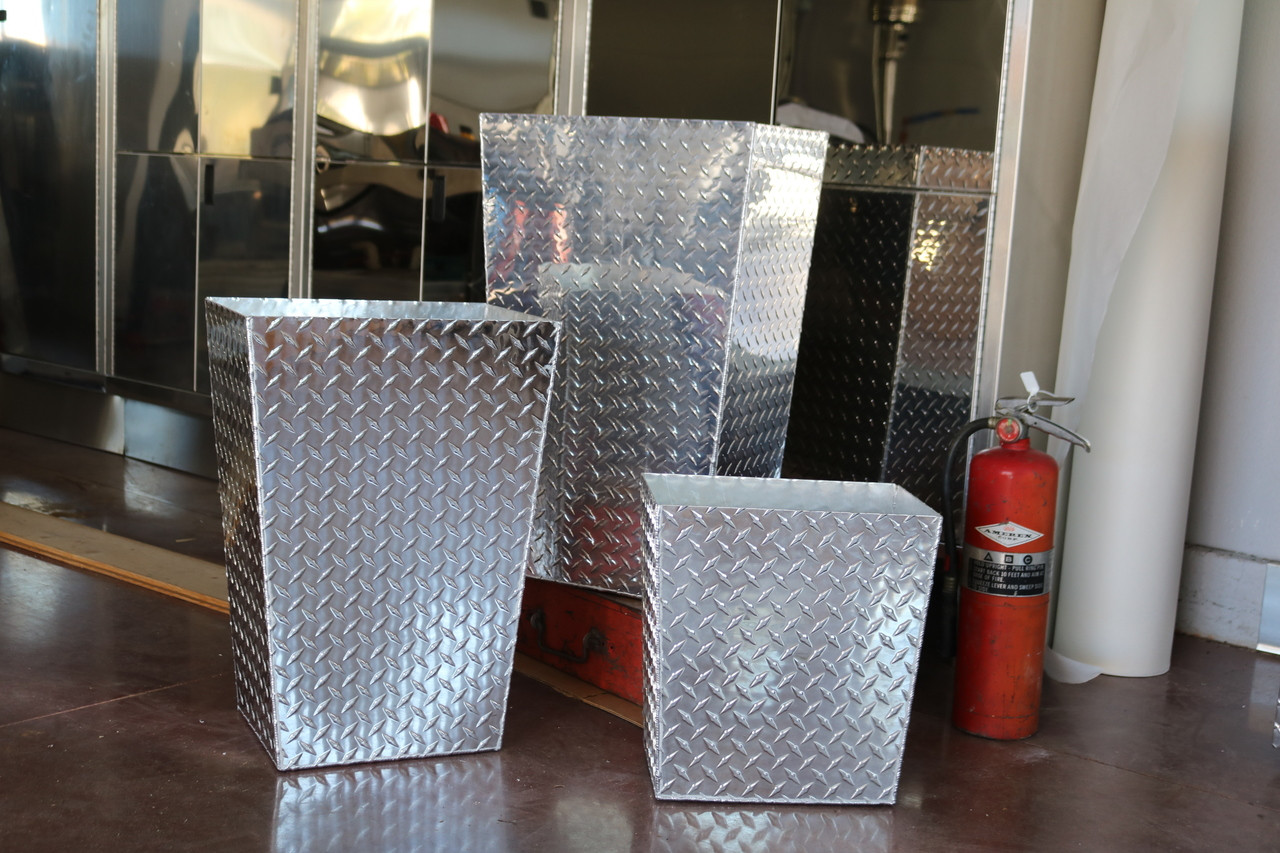 Diamond Plate Trash Cans, Three Sizes, Aluminum Shown