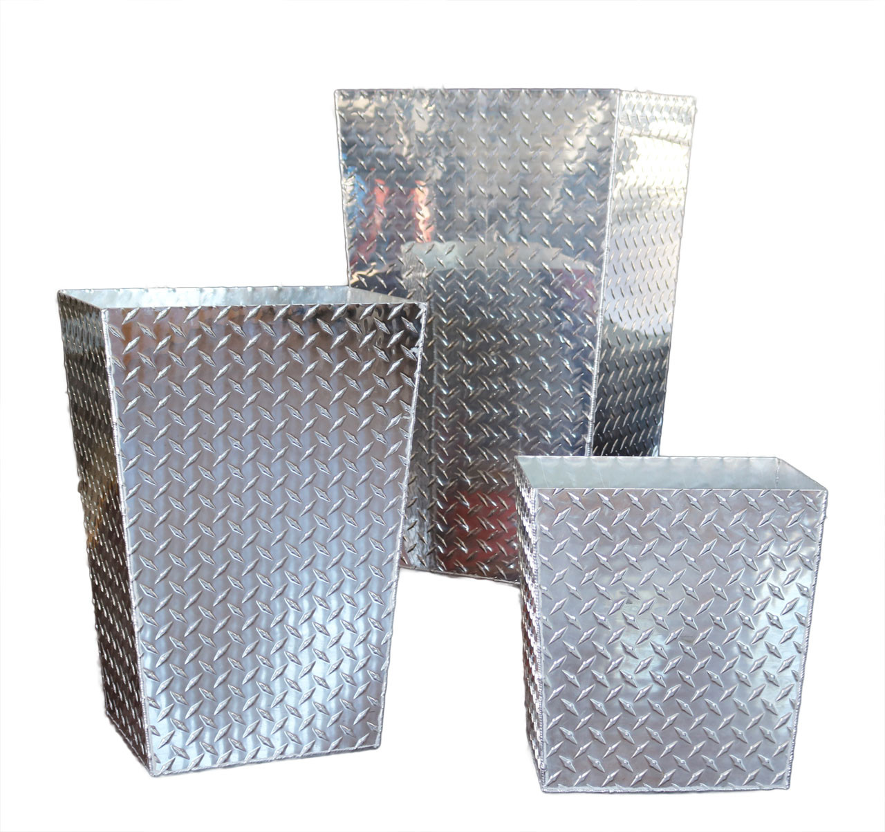 Diamond Plate Trash Cans, Three Sizes Shown