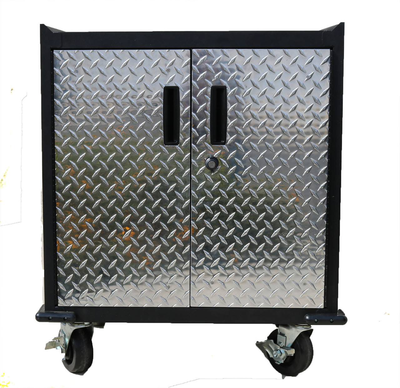 Mobile Base Cabinet, Diamond Plate Two Door