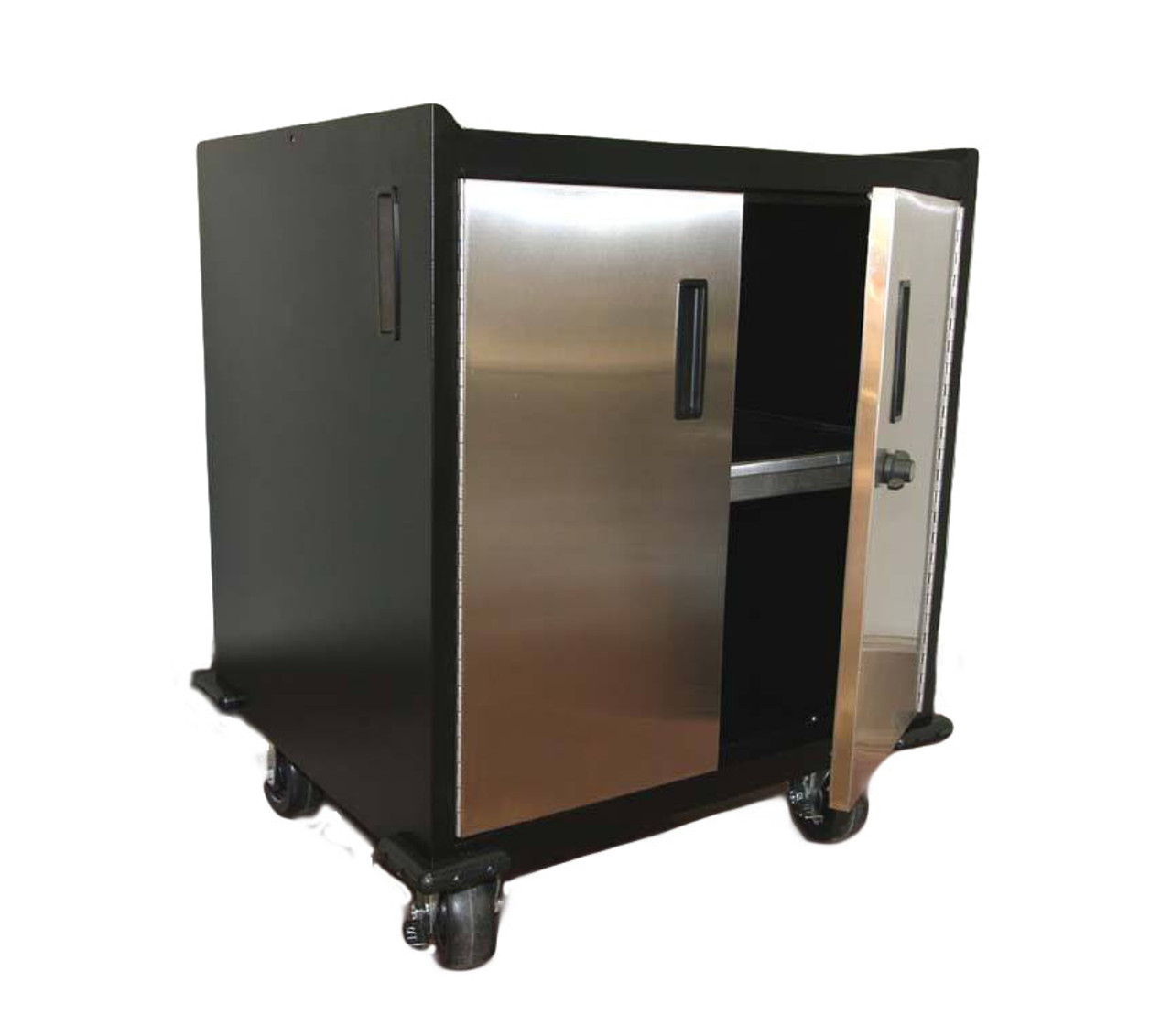 Mobile Base Cabinet, Stainless Steel Doors