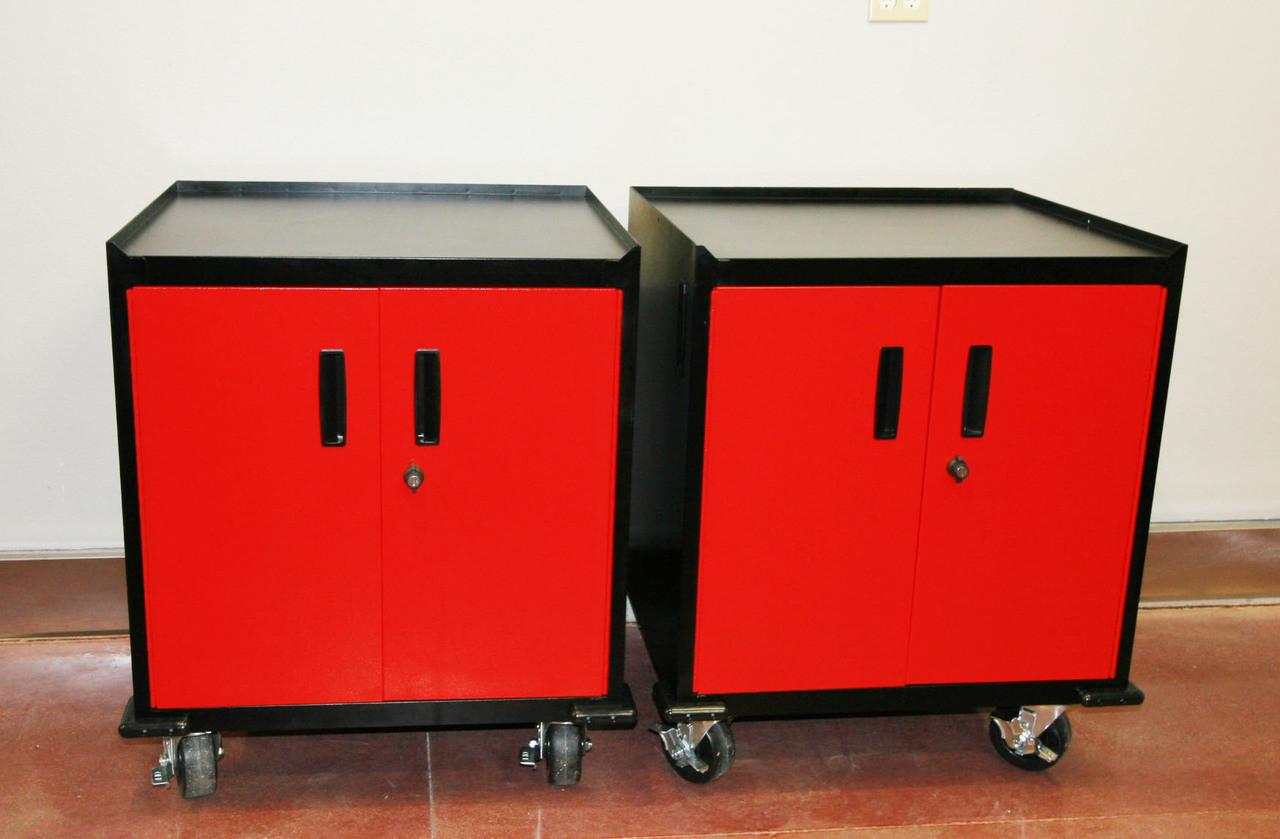 2, Two Door Mobile Base Cabinet, Red Door, sold each