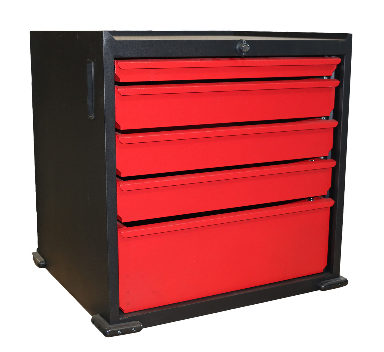 Five Drawer Modular Base Cabinet, Red  with lock, without wheels