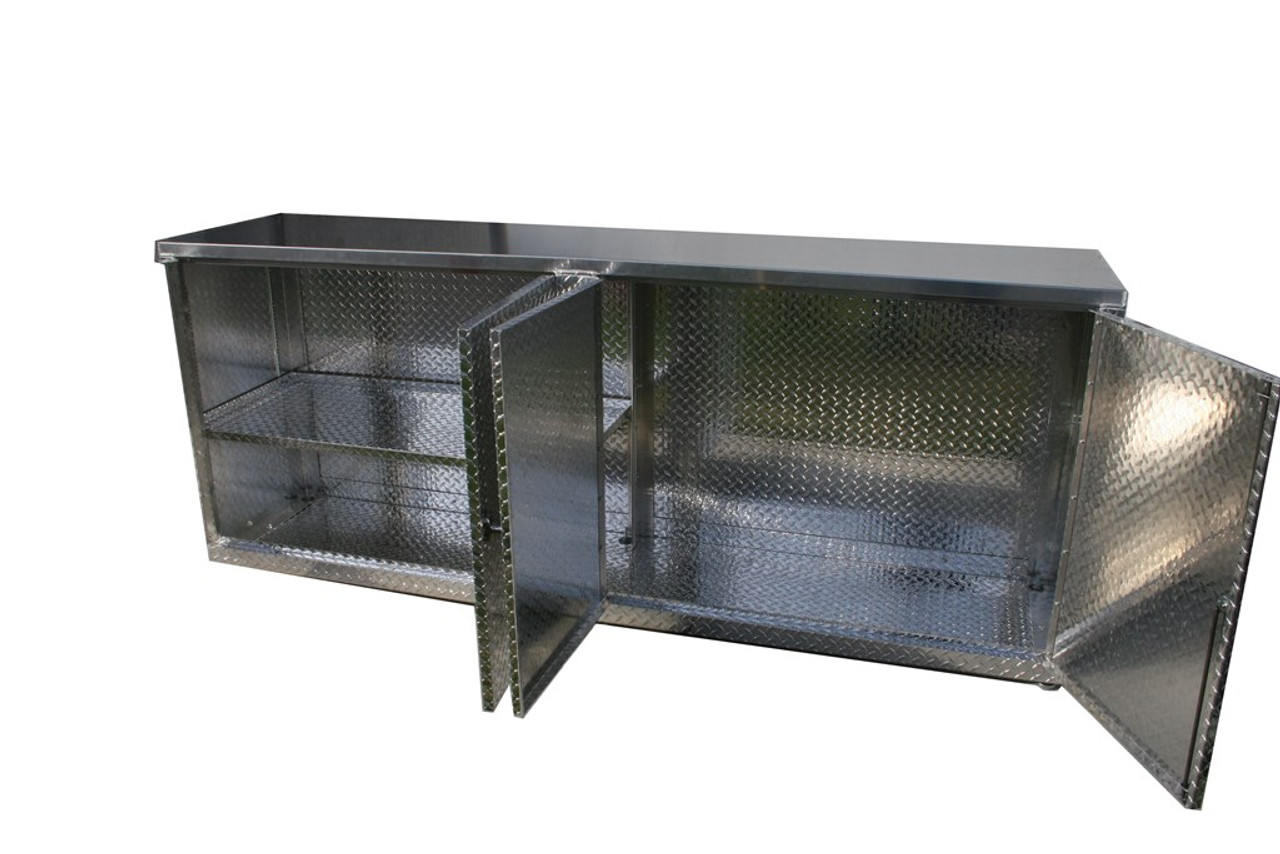 """8' Deep Base Cabinet, with Doors and Smooth Stainless top  38"""" W x 22"""""""