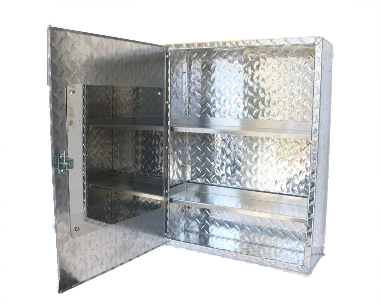 Diamond Plate Medicine Cabinet with Mirror