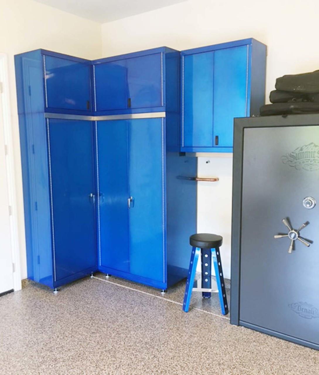 Custom Blue Powder Coated Corner Cabinets and Stool