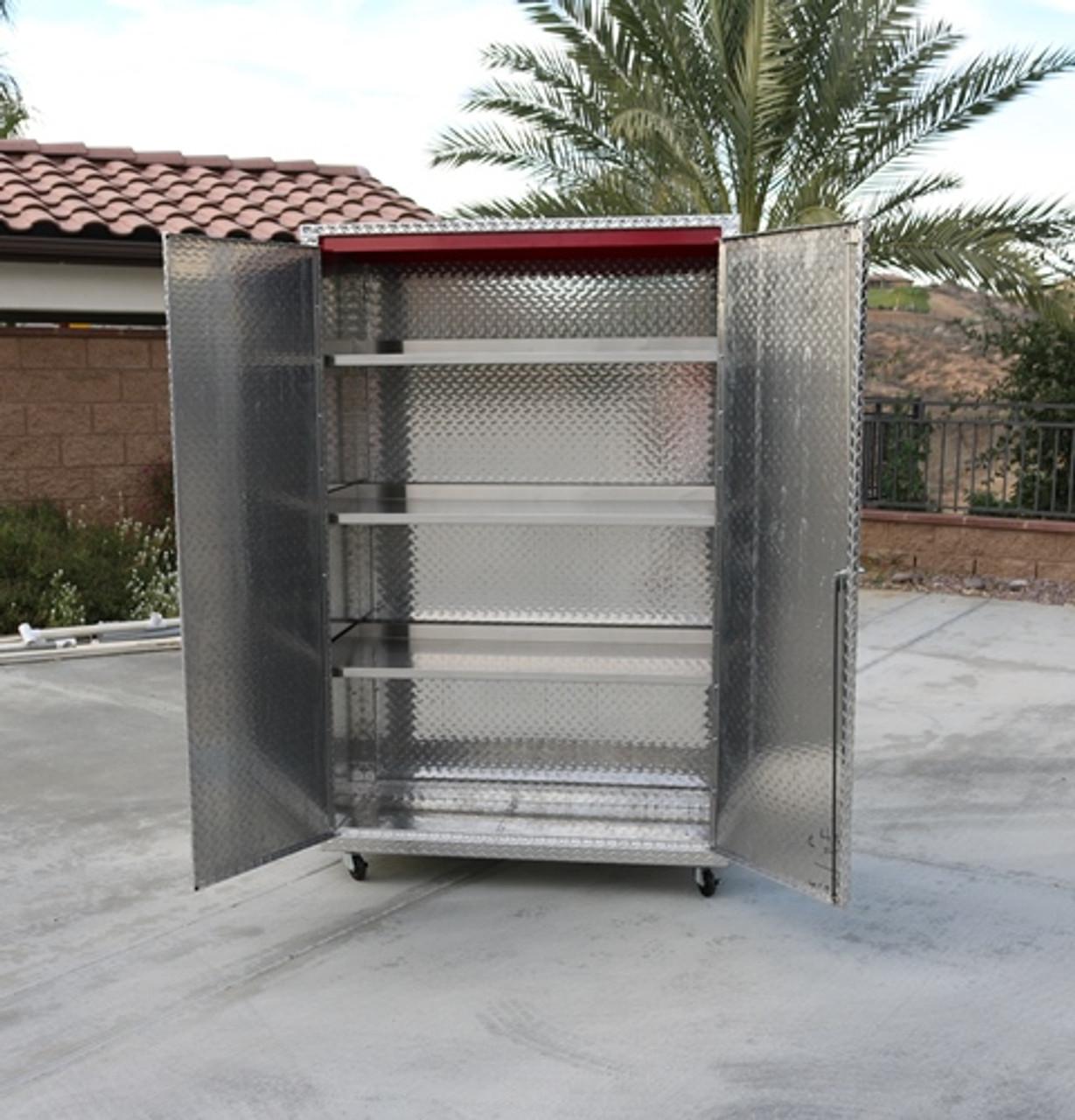 Diamond Plate Storage Locker Front Open (Large Daytona)