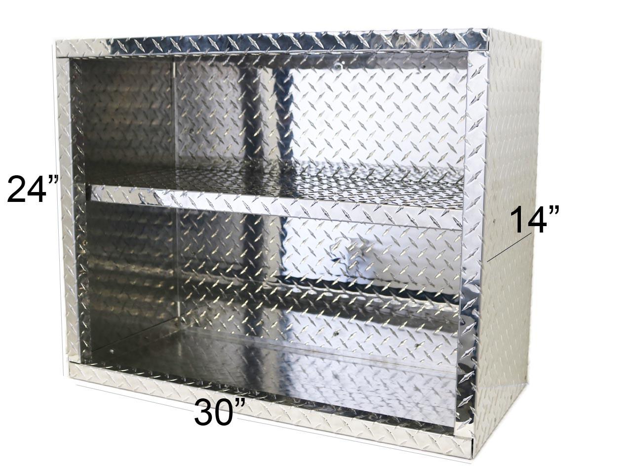 Diamond Plate Overhead Cabinet, Open Face Cabinet