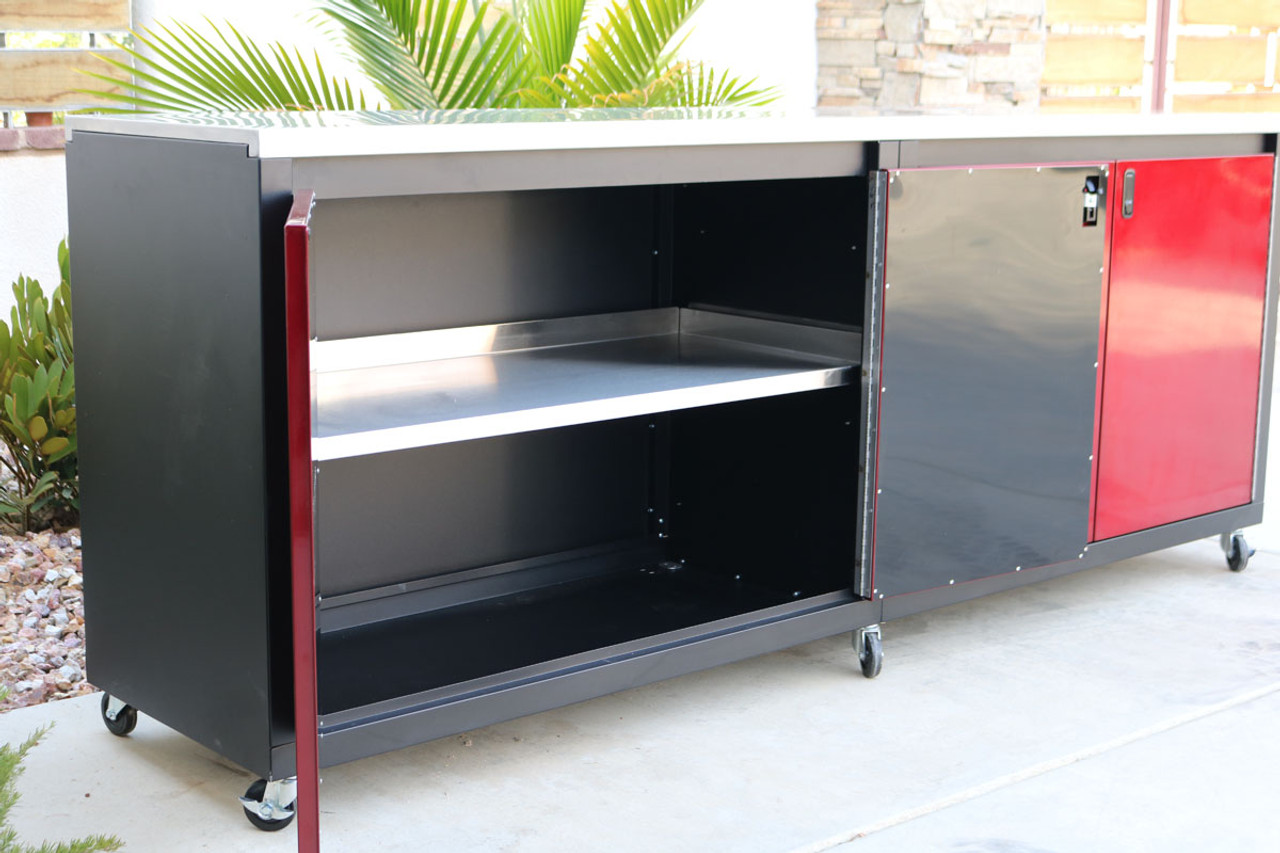 Red and Black 8ft Cabinet with stainless steel shelves and top
