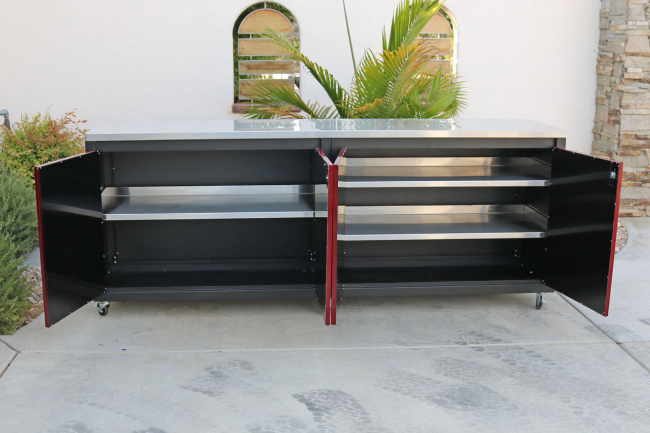 Red and Black 8ft Cabinet with stainless steel shelves