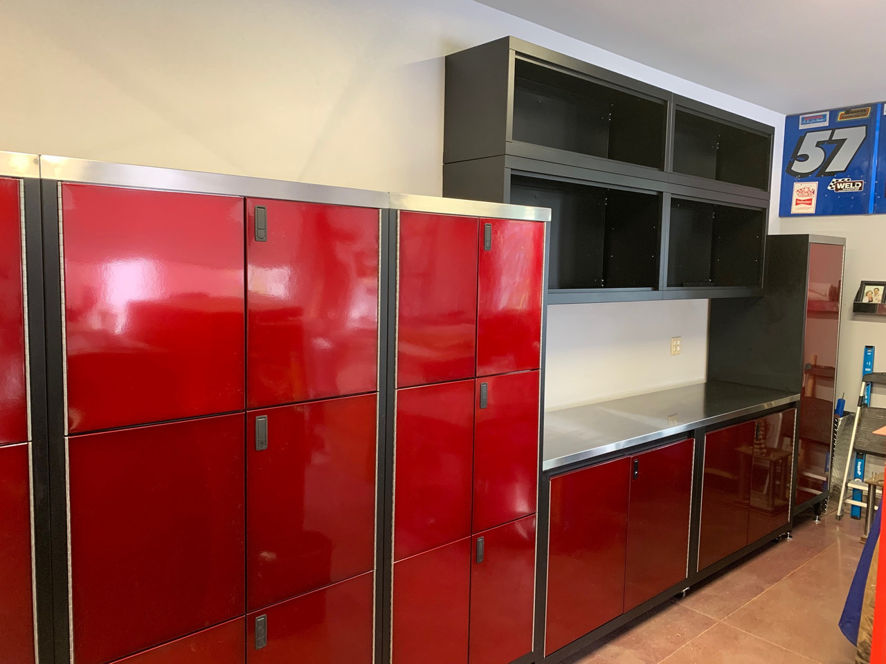 Customer Picture of Red and Black  8' Cabinet with matching Three Tier Cabinets and Shelves