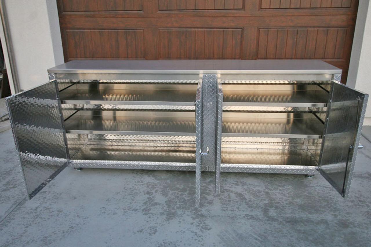 Diamond Plate Classic 7 foot Cabinet 4 Shelves