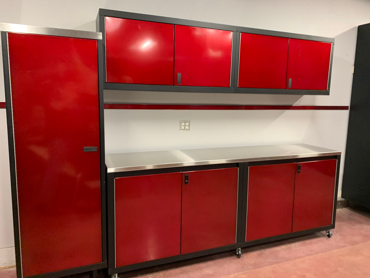 Wall Cabinet with Locker and 8' Base Cabinet