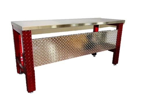 Diamond Plate Desk , Red Legs Stainless Steel Top
