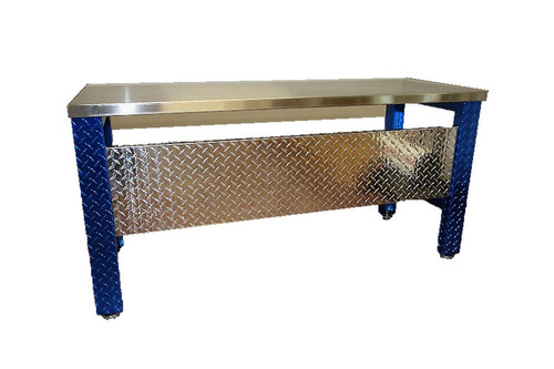 Diamond Plate Desk , Blue Legs Stainless Steel Top