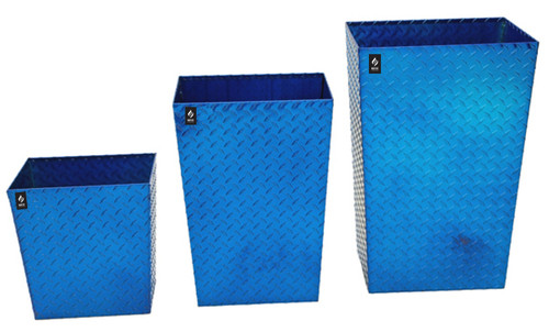 Diamond Plate Trash Cans, Three Sizes, Blue Diamond Plate
