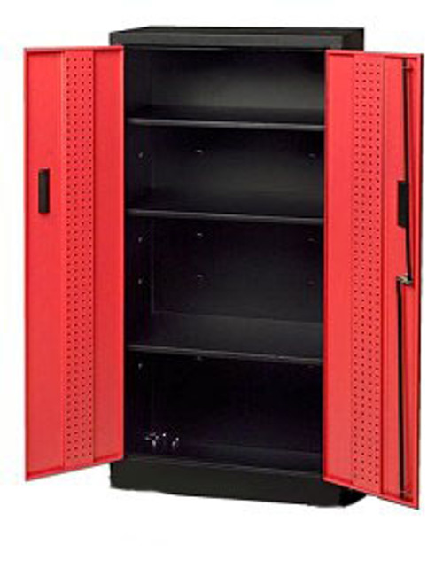 Wall Mount Storage Locker, Red Doors