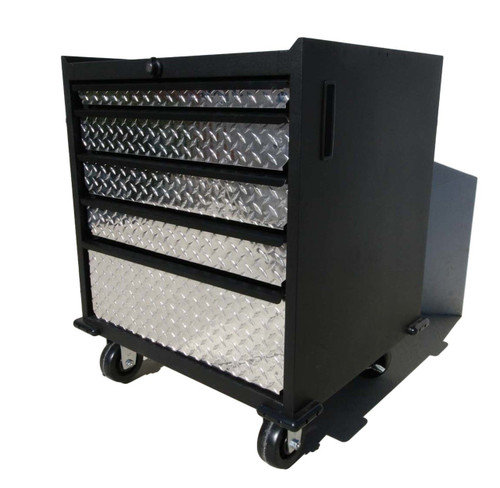 Five Drawer Modular Base Cabinet, Diamond Plate  with lock and wheels