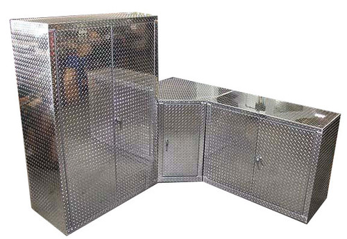 3 Piece Diamond Plate Corner Garage Cabinet Set