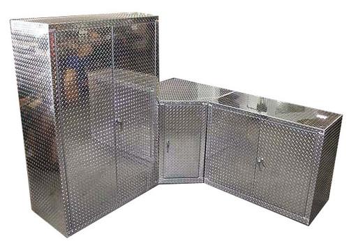 3 Piece Diamond Plate Corner Garage Cabinet Set
