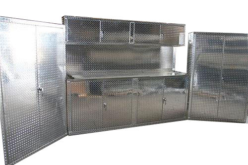 3 Piece 8' Diamond Plate Cabinet Set